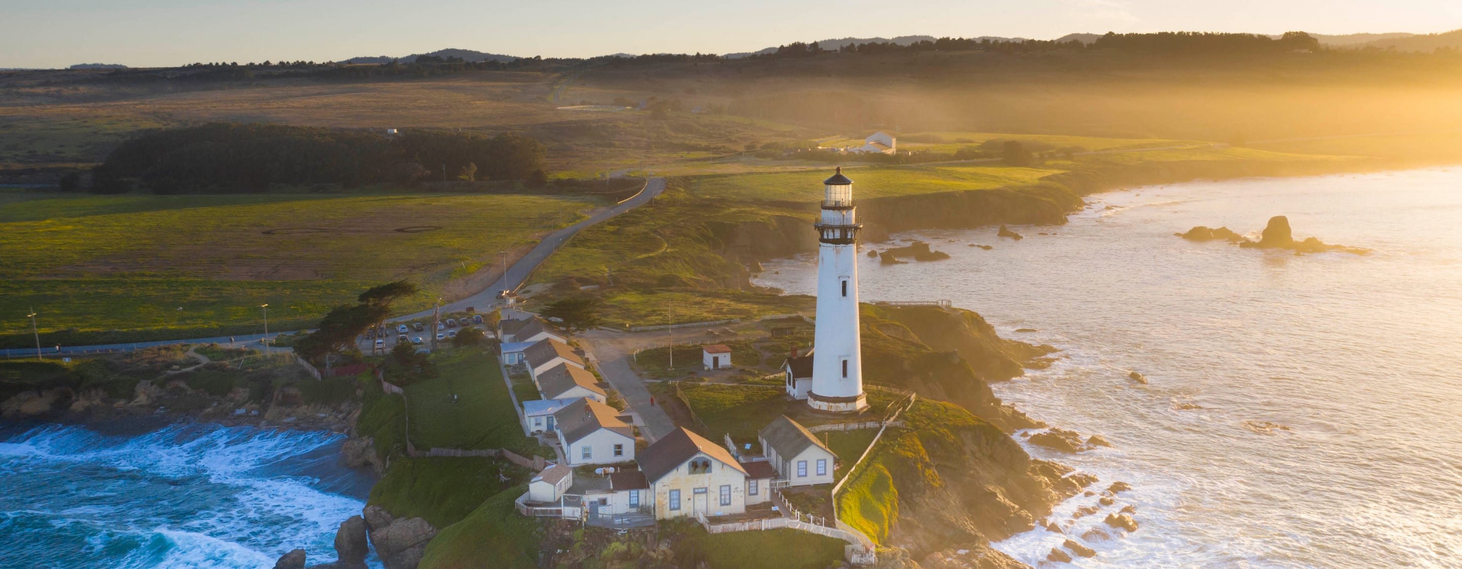 Lighthouse in a coastal town