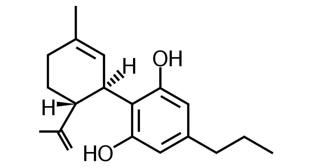 Molekulární struktura cannabidivarinu CBDV