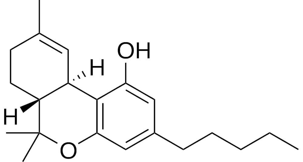 Molekulární struktura tetrahydrokanabinolu THC