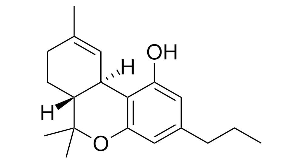 Molekulární struktura tetrahydrokanabivarinu THCV