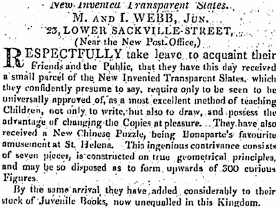 Advertisement for tangrams from Freeman's Journal, 19 June 1817