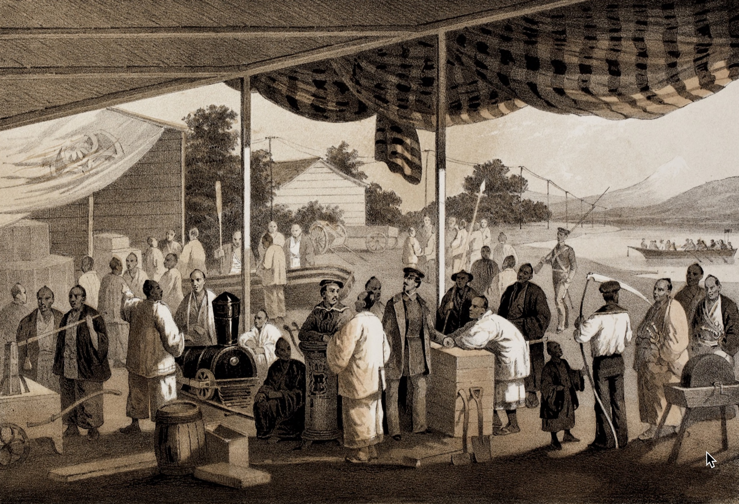 Demonstration of American manufactures at Yokohama, March, 1854. Note the telegraph wire in the background.