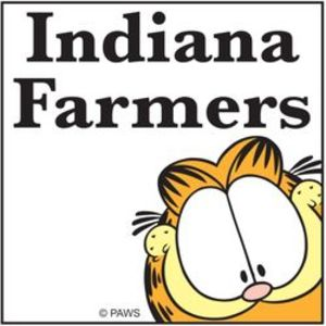 Indiana Farmers Logo featuring Garfield the cat.