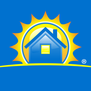 A blue home with the sun behind it - Security First Insurance  logo