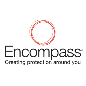 Circular rings, Encompass logo.   Caption text: Creating protection around you.