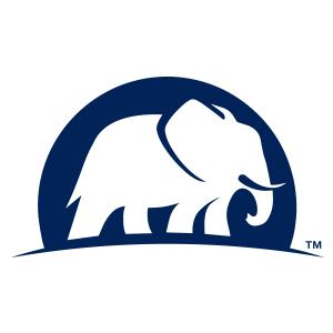 Blue elephant silhouette, elephant auto insurance logo