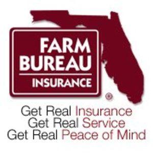 Florida Farm Bureau Insurance Logo.  Caption Text: Get Real Insurance.  Get Real Service. Get Real Peace of Mind.