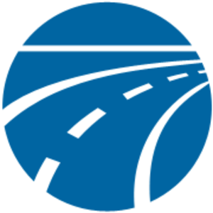 Road silhouette, safety insurance company logo