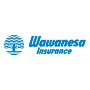 Blue tree silhouette, wawanesa insurance logo