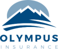 Logo in shades of the color blue: sketch of a mountain with the sun setting behind it.  Caption text: Olympus Insurance