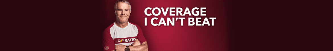 "Louisiana Farm Bureau Insurance  Logo - Picture of Brett Farve, Captioned: ""Coverage I Can't Beat"""