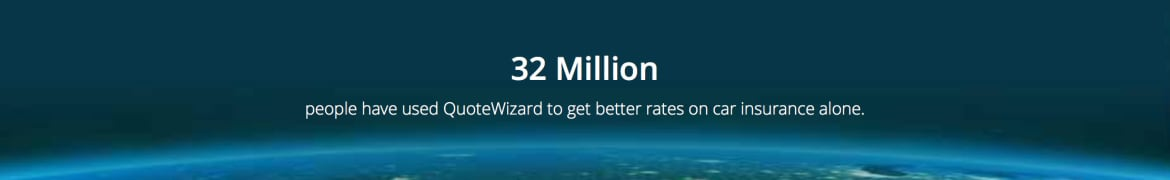 Caption text: 32 million people have used QuoteWizard to get better rates on car insurance alone.