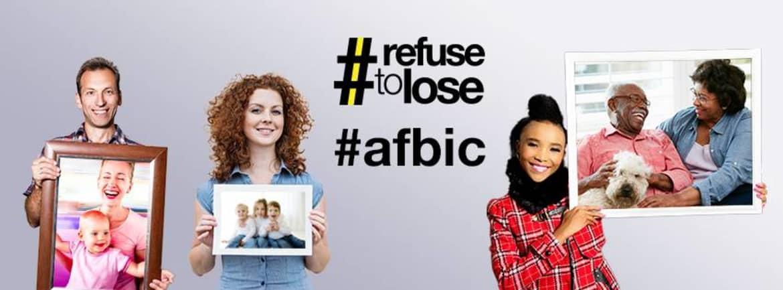 Arkansas Farm Bureau policyholders holding up photos of family members with caption text #refusetolose and #afbic - Arkansas Farm Bureau banner image