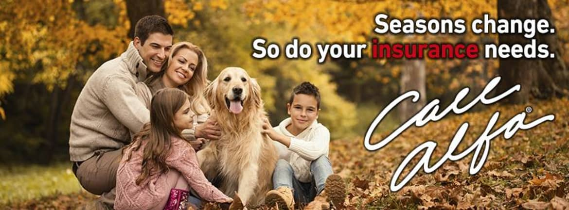A couple with a daughter, son and a dog, alfa alliance insurance corporation - Seasons change. So do your insurance needs.