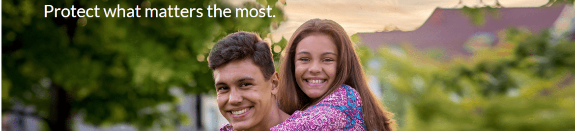 """Two smiling siblings with the caption """"Protect what matters the most"""" - Founders Insurance banner image"""