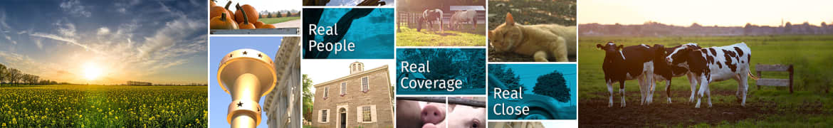 """Collage of scenes from the state of Indiana with the caption text: """"Real People; Real Coverage; Real Close""""."""