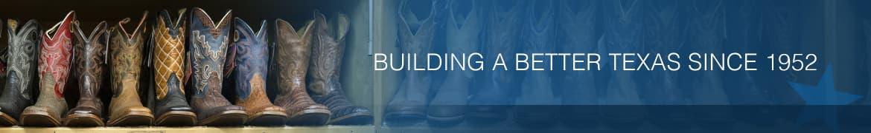 rack of leather boots, texas farm bureau mutual insurance company banner - Building a better texas since 1952