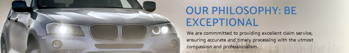 car headlights in focus, united home insurance company banner - Our philosophy - be exceptional