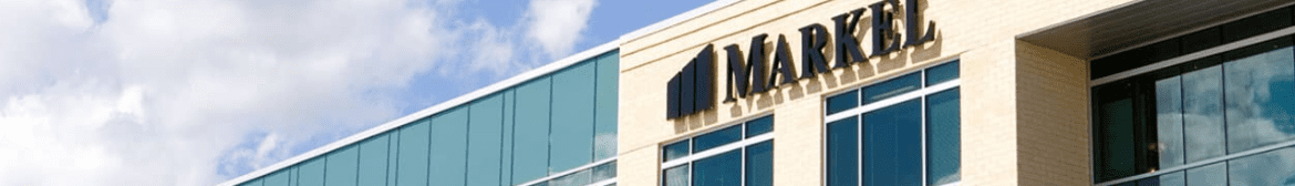 Modern looking building with a Markel sign and logo.