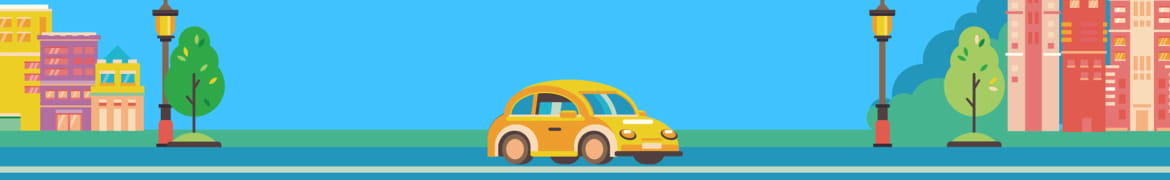 A cartoon-setting with a yellow car driving down the street