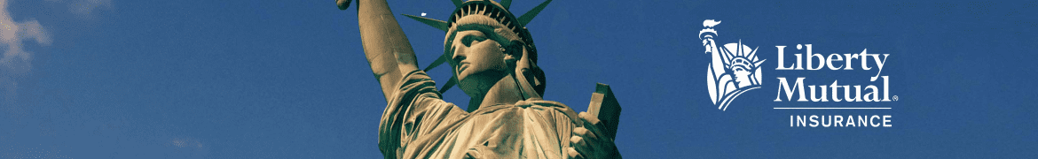 statue of liberty against a blue sky - liberty mutual insurance banner