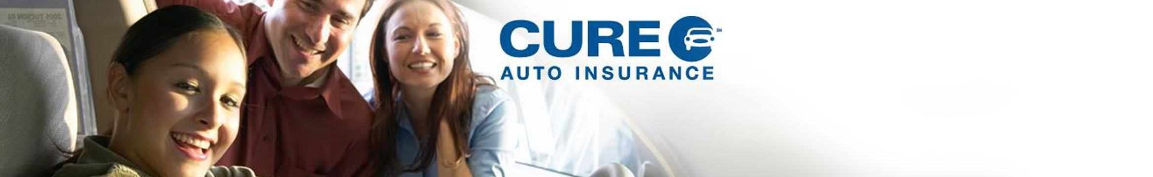 A woman in a car and two people behind her, Cure Auto Insurance -  Citizens United Reciprocal Exchange