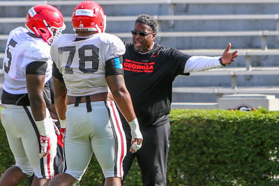 Georgia coaches like Tracy Rocker have had some concerns about Trent Thompson's practice performance. (RANDY SCHAFER/Special.)