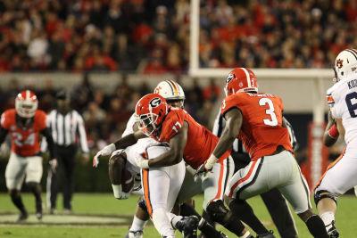 The Bulldogs defense was stifling against Auburn. (Andy Harrison / UGA)