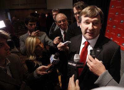 New Georgia coach Kirby Smart speaks with the media on Monday, Dec. 7, 2015., in Athens, Ga. (Photo/Joshua L. Jones joshjonesphoto@yahoo.com)
