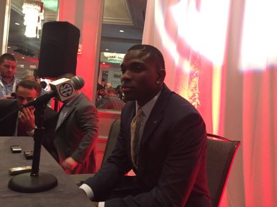 Eddie Jackson speaking at SEC media days. (SETH EMERSON/AJC)