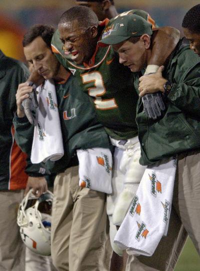 Willis McGahee after tearing his knee in the 2012 Fiesta Bowl. (AP)