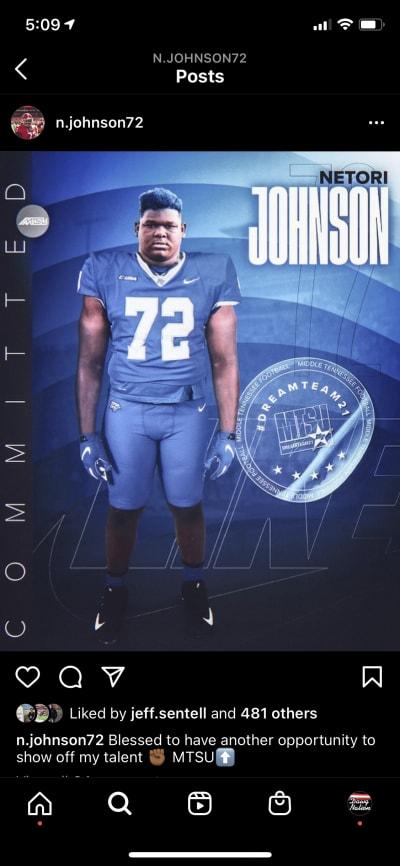 Netori Johnson-Georgia Football-Middle Tennessee State