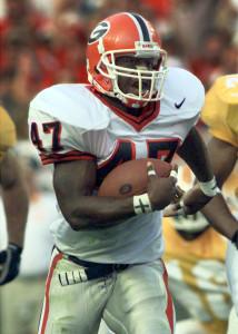 Former All-SEC RB Robert Edwards scored five TDs against South Carolina in 1995. (AJC)