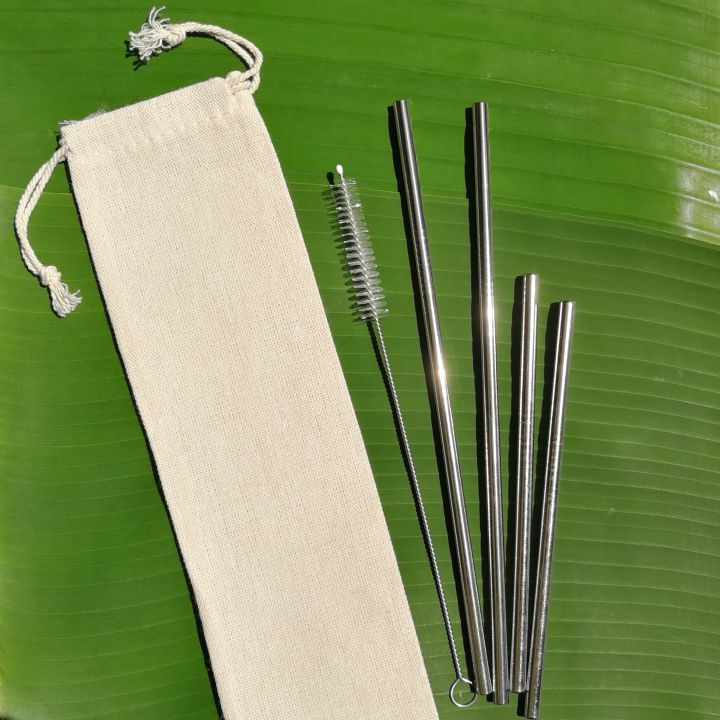 Stainless Steel Straw Family Set – 304 grade straws, cleaner, pouch