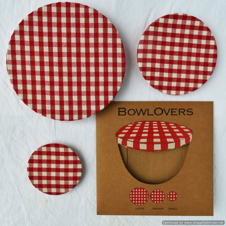Set of Three Red Gingham Cotton BowlOvers Bowl Covers