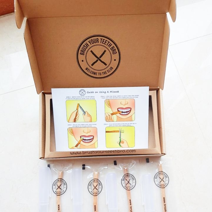 Miswak Toothbrush Gift Box Set (4 Miswak, 4 Carry Case)