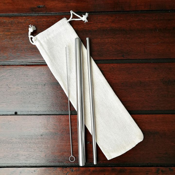 Stainless Steel Straw Twin Set – 304 grade straws, cleaner, pouch