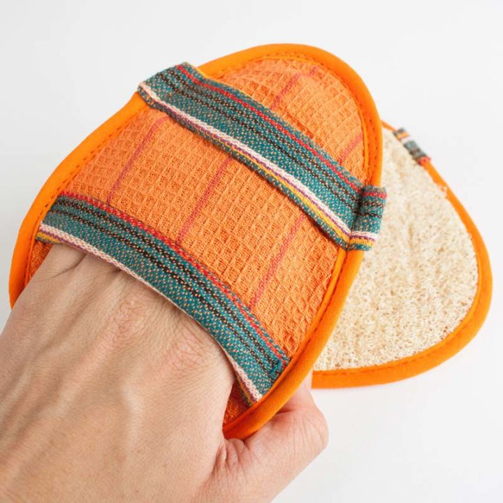 Oval Slip-On Loofah Scrubbers – Orange