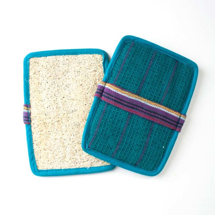 Rectangle Slip-On Loofah Scrubbers (2-pack) – Blue