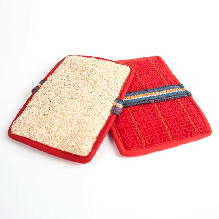 Rectangle Slip-On Loofah Scrubbers (2-pack) – Red