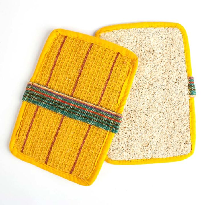 Rectangle Slip-On Loofah Scrubbers (2-pack) – Yellow
