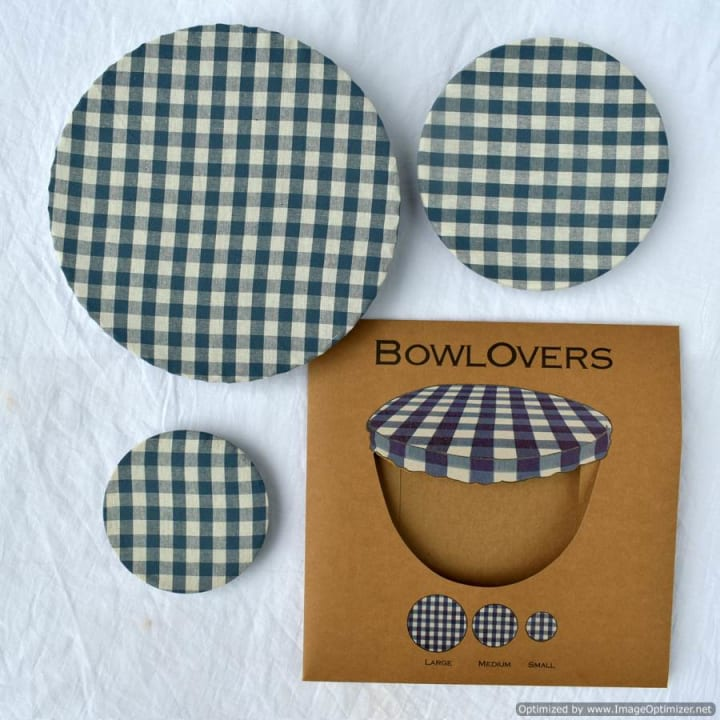 Set of Three Blue Gingham Cotton BowlOvers Bowl Covers