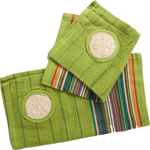 Cotton Dish Cloth with Loofah (2-pack) – Green