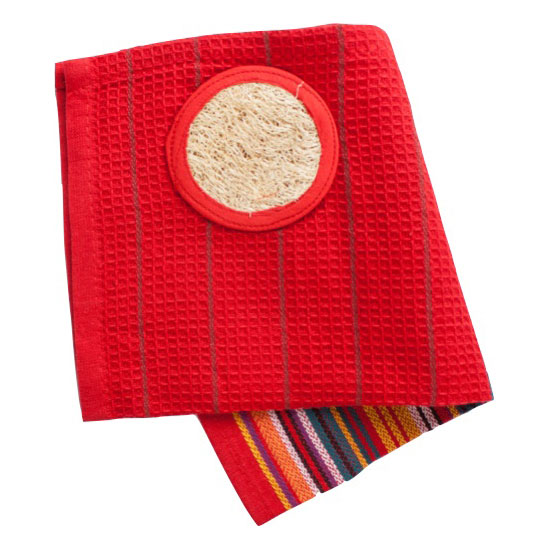 Cotton Dish Cloth with Loofah (2-pack) – Red