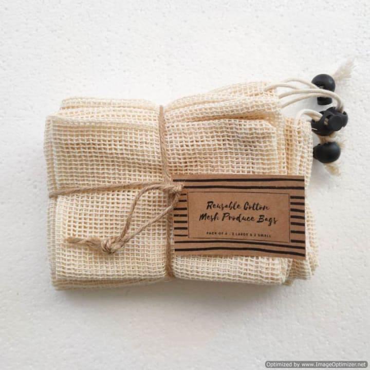 Cotton Mesh Produce Bag Bundle of 4