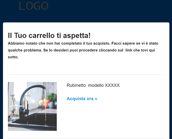 email carrelli abbandonati