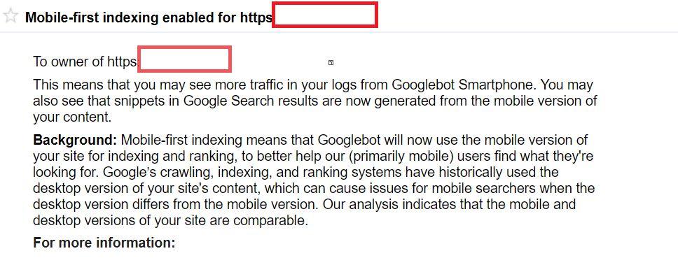 email messaggio indice mobile first di google