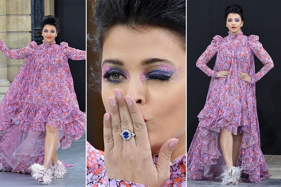 Dazzlerr - Aishwarya Rai Bachchan Stuns at Paris Fashion Week in Giambattista Valli Outfit