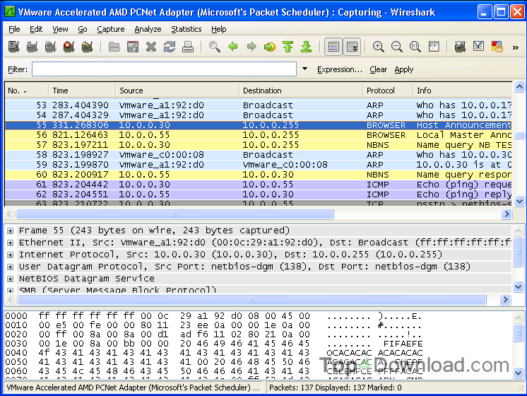 Portable Wireshark screenshot