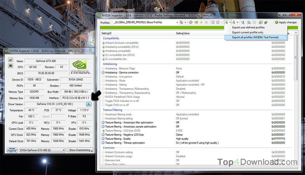 NVIDIA Inspector screenshot
